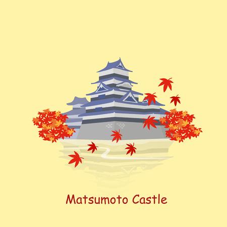 unesco: cute cartoon japan matsumoto castle great for Japan travel concept Illustration