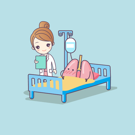 health care concept: cute cartoon lung and doctor, great for health care concept