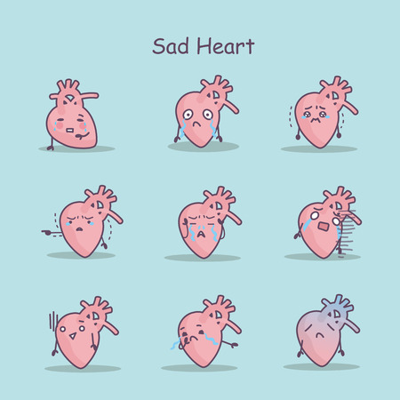 Sad cartoon Heart set, great for your design and health care concept