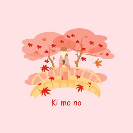 Japan woman wear Kimono and maple in autumn Illustration