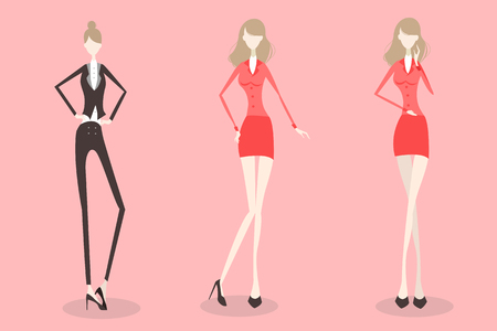 fullbody: cute cartoon business woman isolated on pink background