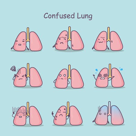 Confused cartoon Lung set, great for your design