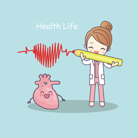 cute cartoon heart with doctor,health life, great for health care concept