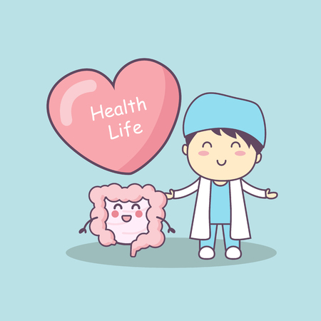 sigmoid: cute cartoon doctor with intestine, great for health life concept Illustration