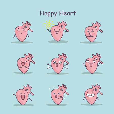 Happy cartoon heart set, great for your design Illustration