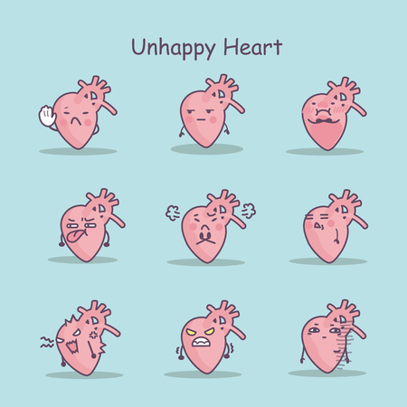 Unhappy cartoon heart set, great for your design
