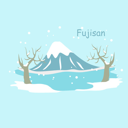 Mountain Fuji in the snow in winter