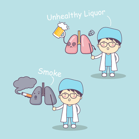 intake: cute cartoon doctor and lung,great for health care concept