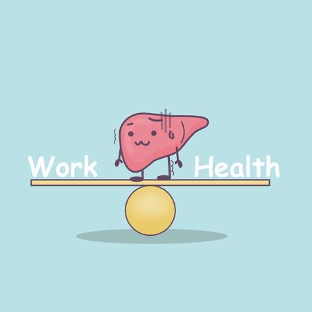 cute cartoon liver with Balance, Work and health balance concept