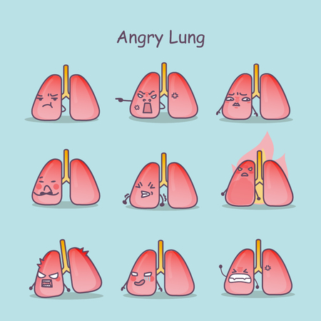 Angry cartoon Lung set, great for your design