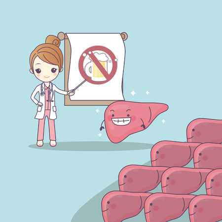 cartoon doctor teach liver to be health, great for health care concept Illustration