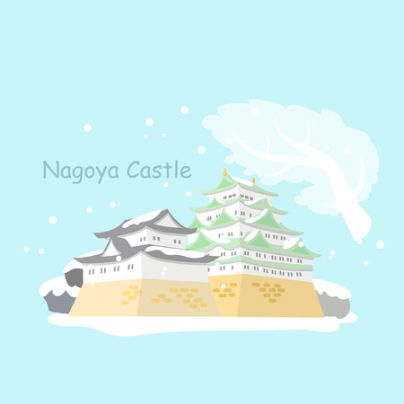 unesco: cartoon Japan nagoya castle with snow in winter Illustration