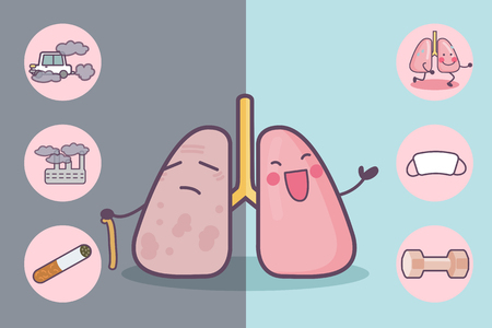 personne malade: Before and after lung, great for health care concept Illustration