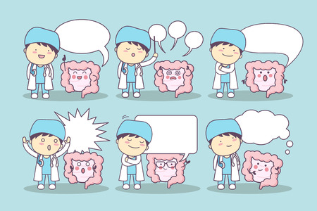cartoon intestine and doctor with speech bubble, great for your design Vectores
