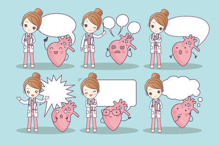 cartoon heart and doctor with speech bubble, great for your design