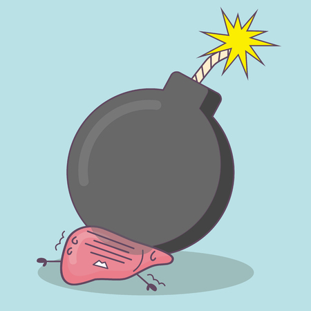 cartoon liver with bomb, great for health care concept