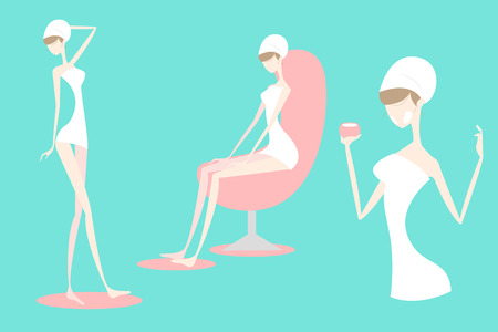 cartoon woman with spa ,great for your concept Illustration