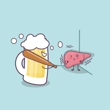 cute cartoon liver bullied by unhealthy liquor, great for health care concept