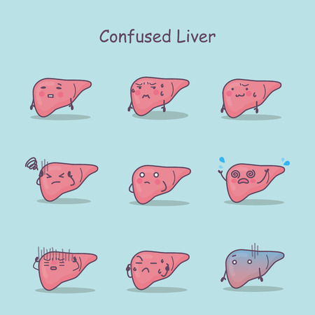 Confused cartoon liver set, great for your design