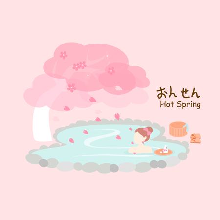 onsen: Beauty woman with hot Spring and cherry blossom or sakura - hot Spring on right in Japanese words