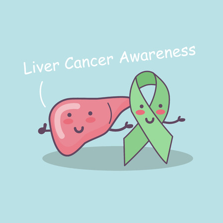 hepatitis prevention: Green ribbon and liver outline for liver cancer campaign, great for liver cancer awareness health care concept
