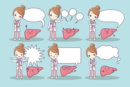cartoon liver and doctor with speech bubble, great for your design Illustration