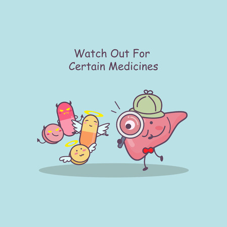 cute cartoon liver watch out for certain medicines, great for health care concept