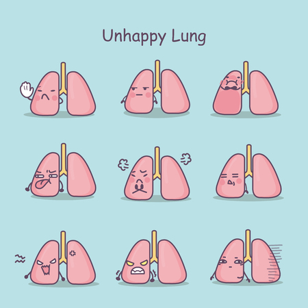 Unhappy cartoon lung set, great for your design Illustration