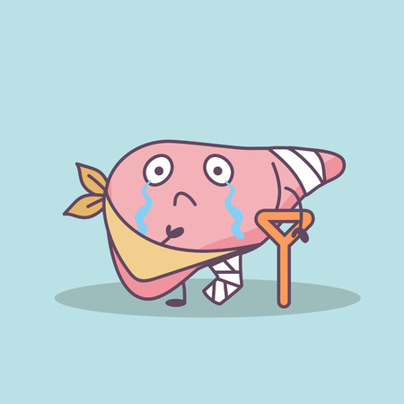 cartoon injured liver with crutch, great for health care concept