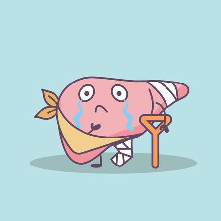 de dibujos animados lesiona el hígado con la muleta, gran concepto de cuidado de la salud Ilustración de vector
