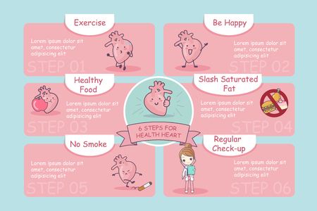 health care concept: 6 steps for health cute cartoon heart, great for health care concept Illustration
