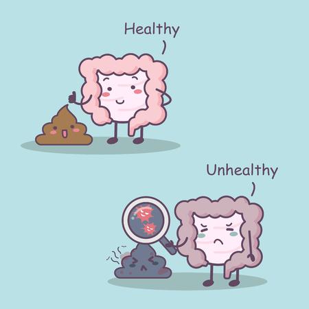 intestino: Linda de la historieta y el intestino sano enfermiza con la mierda grande para el concepto de cuidado de la salud