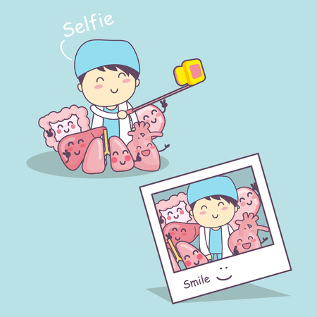 Happy organ cartoon with doctor selfie - heart, lung, liver, stomach and intestine cartoon, great for health care concept Illustration