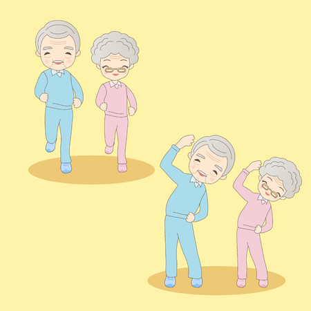 cartoon old couple doing excercise,great for your design
