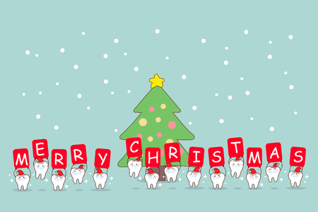 christmas and snow with cute cartoon tooth with whiten