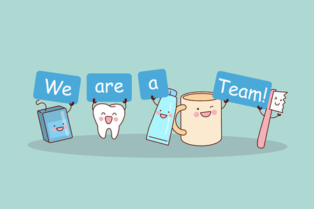 teams: We are a team - cute cartoon tooth with floss, brush and tooth paste, great for health dental care concept