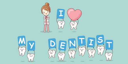 trainee: I love my dentist - cartoon tooth with doctor, great for dental care concept Illustration