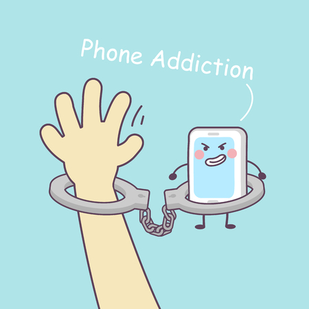 handcuffed: cute cartoon smartphone with handcuffs, great for technology concept design