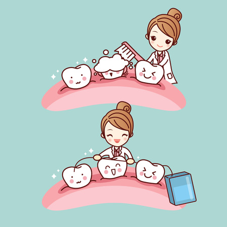 mouth cavity: cute cartoon dentist doctor brush tooth, great for health dental care concept