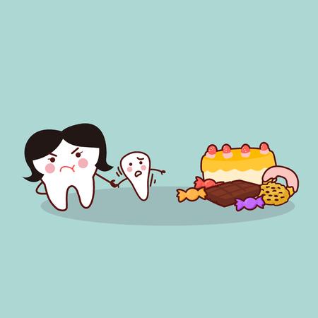 leuke cartoon tand verzetten dessert, geweldig voor de gezondheid tandheelkundige zorg concept