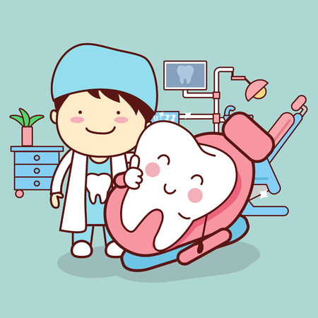 animowany dentysta lub lekarz z zębem usiąść na krześle i kciuk, doskonale nadaje się do pielęgnacji zębów koncepcji