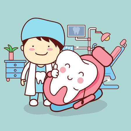 dentista o al médico de dibujos animados con el diente de sentarse en la silla y el pulgar arriba, gran concepto de cuidado dental Vectores