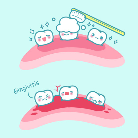 gum paste: cartoon tooth brush and gingivitis, great for health dental care concept