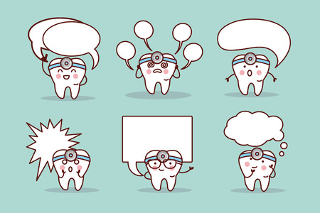 speech bubble hospital: cute cartoon tooth and dentist with speech bubble