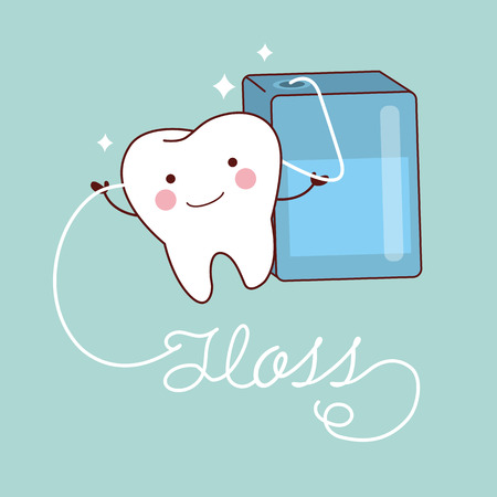 cute cartoon teeth smile happily with floss