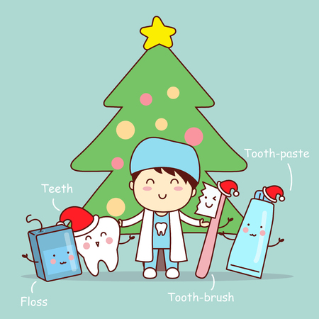 christmas and cute cartoon dentist with tooth brush and teeth