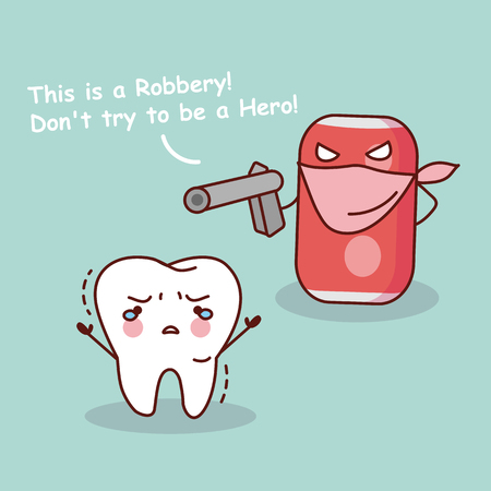 cute cartoon teeth robbery by unhealthy soda water, great for health dental care concept