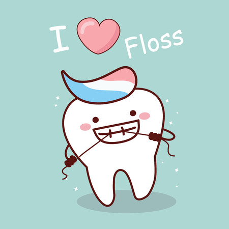 cartoon tooth with floss, i love floss,great for dental care concept Illustration