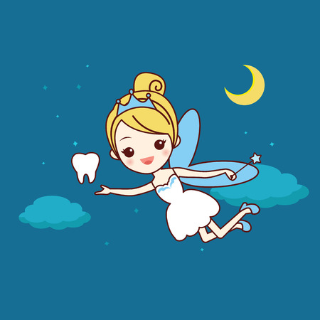 cartoon  tooth with tooth fairy and magic wand, great for dental care concept 向量圖像