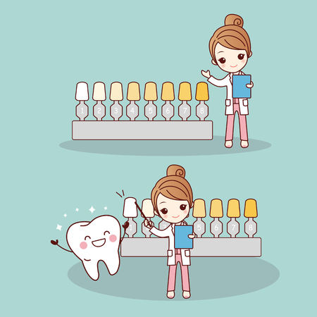 Happy cartoon tooth and dentist with whitening and bleaching tool, great for dental care and teeth whitening and bleaching concept